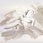 Reclining woman - drawing in black