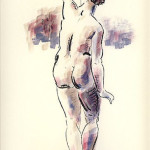 Female nude from the back - Colored drawing
