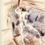 Female nude on the sofa - Colored drawing