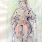 Female nude sitting on chair - Colored drawing