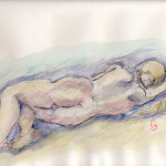 Reclining female nude - Coulored drawing